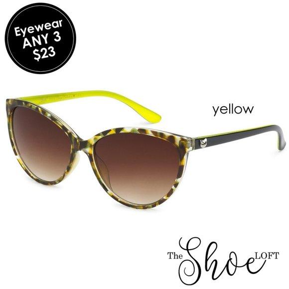 Oversized Yellow Camo Cat Eye Sunglasses